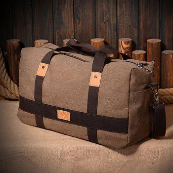 Zipper Double Pocket Canvas Tote Bag -  BROWN