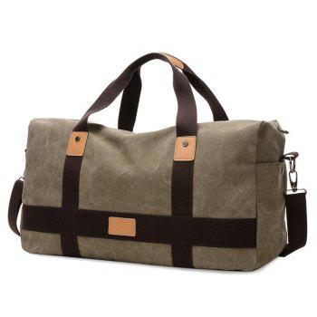 Zipper Double Pocket Canvas Tote Bag - OLIVE GREEN OLIVE GREEN