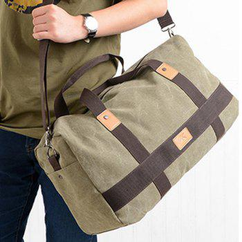 Zipper Double Pocket Canvas Tote Bag -  OLIVE GREEN