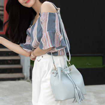 Drawstring Tassel Faux Leather Bucket Bag