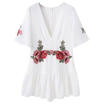 Embroidered Patches Flutter Sleeve Romper