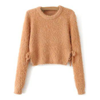 Fuzzy Lace Up Cropped Sweater