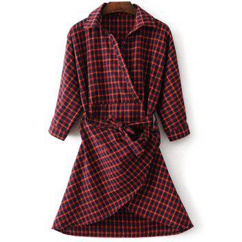A Line Belted Asymmetric Plaid Shirt Dress