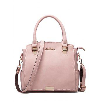 Zipper Faux Leather Double Pocket Tote Bag