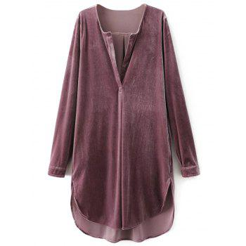 V Neck Velvet Tunic Dress
