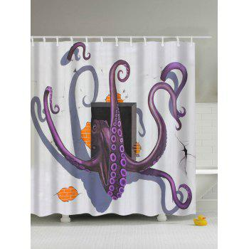 3D Cartoon Octopus Flee Print Shower Curtain
