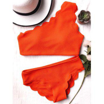 One Shoulder Scalloped Bathing Suit