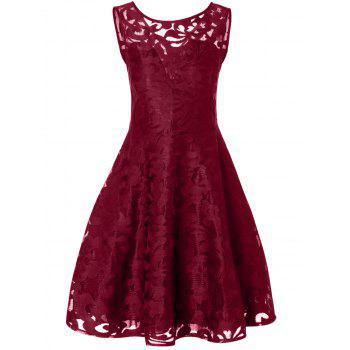Lace Plus Size Vintage Party Short Cocktail Dress - BURGUNDY 5XL
