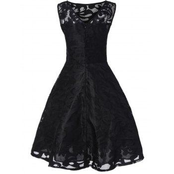 Lace Plus Size Holiday Short Cocktail Dress - BLACK BLACK