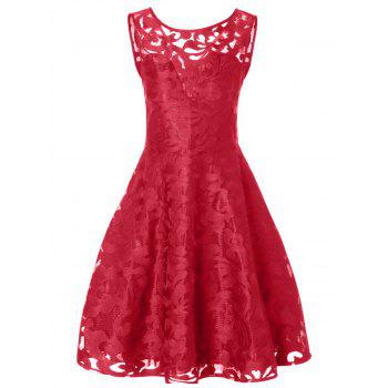 Lace Plus Size Vintage Party Midi Short Cocktail Dress - BRIGHT RED 3XL