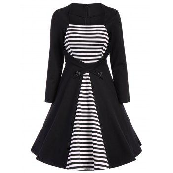 Plus Size Square Collar Striped Skater Dress with Long Sleeves - BLACK BLACK