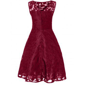 Lace Plus Size Holiday Short Cocktail Dress - BURGUNDY 4XL