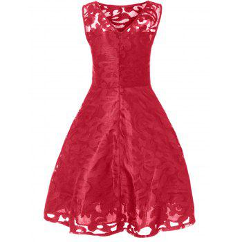 Lace Plus Size Holiday Short Cocktail Dress - BRIGHT RED 3XL