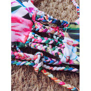 Braided Tie Back Floral Bikini - FLORAL XL