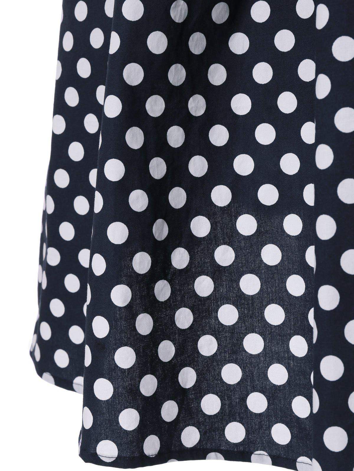 Sleeveless Polka Dot V-Back Swing Dress - PURPLISH BLUE L