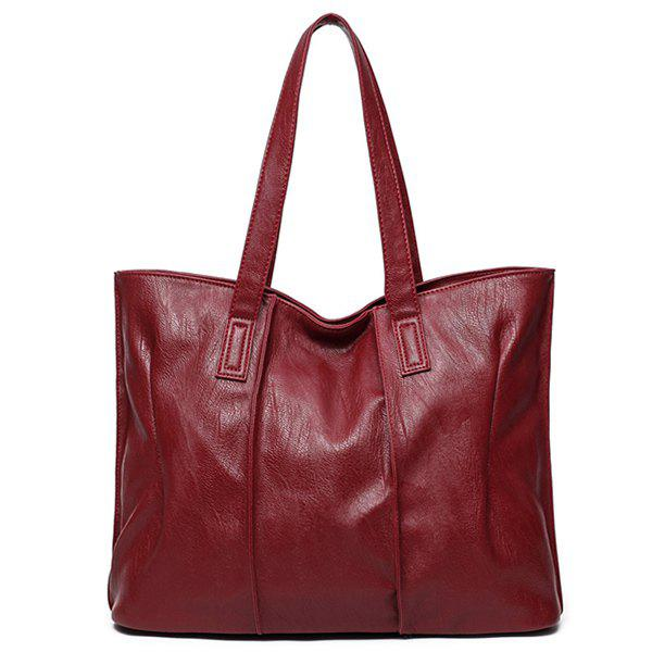 Casual PU Leather Shoulder Bag - WINE RED