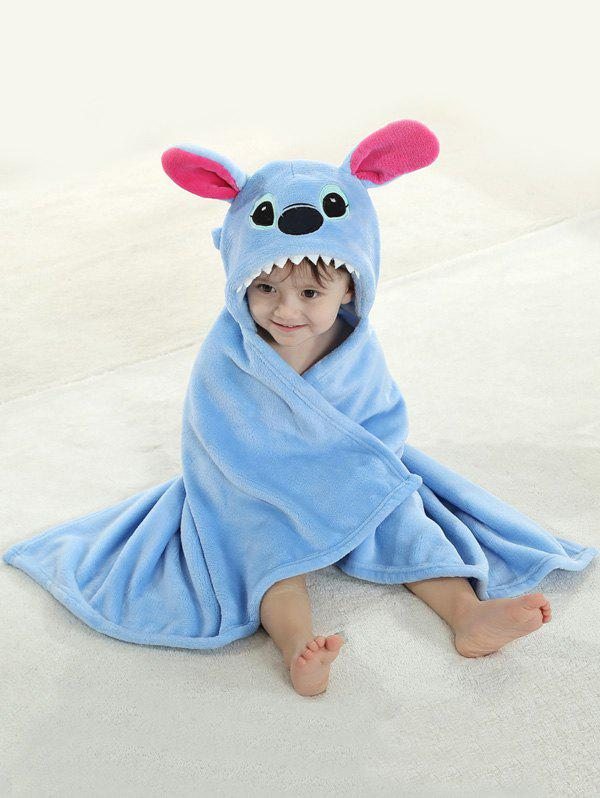 Coral Fleece Cartoon Animal Shape Hooded Blanket For Kids - SKY BLUE