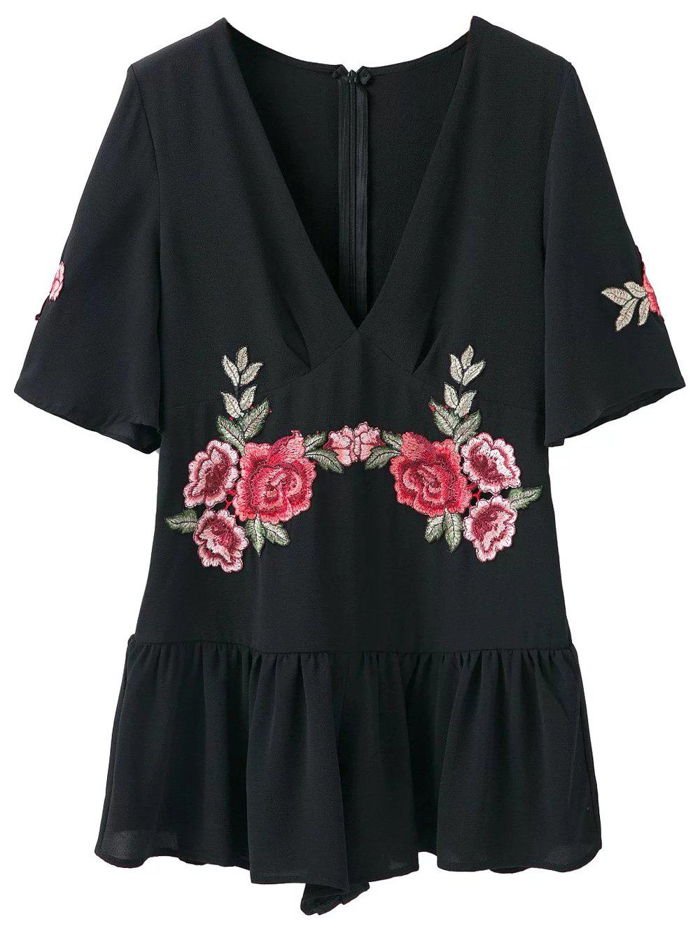 Embroidered Patches Flutter Sleeve Romper - BLACK S