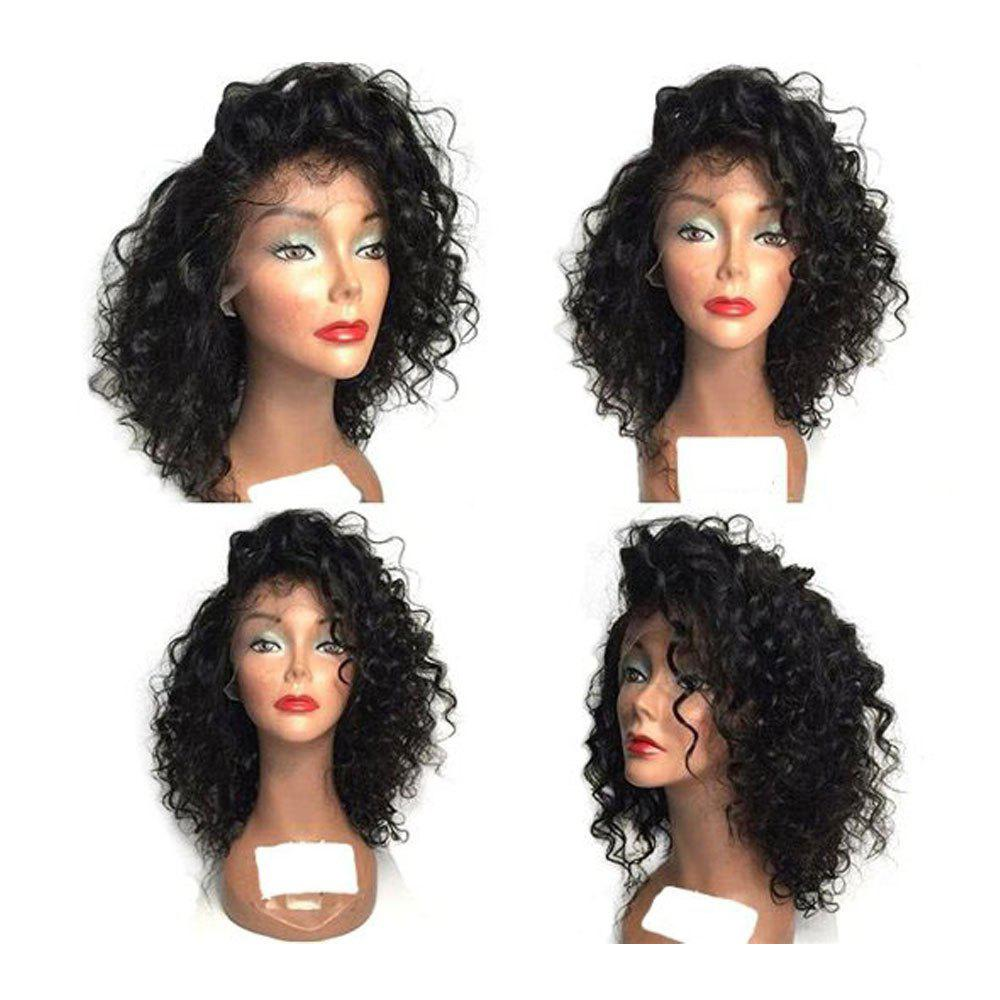 Fluffy Curly Side Bang Synthetic Medium Lace Front Wig - BLACK