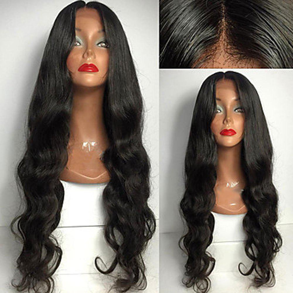 Long Body Wave Middle Part Lace Front Synthetic Wig - BLACK