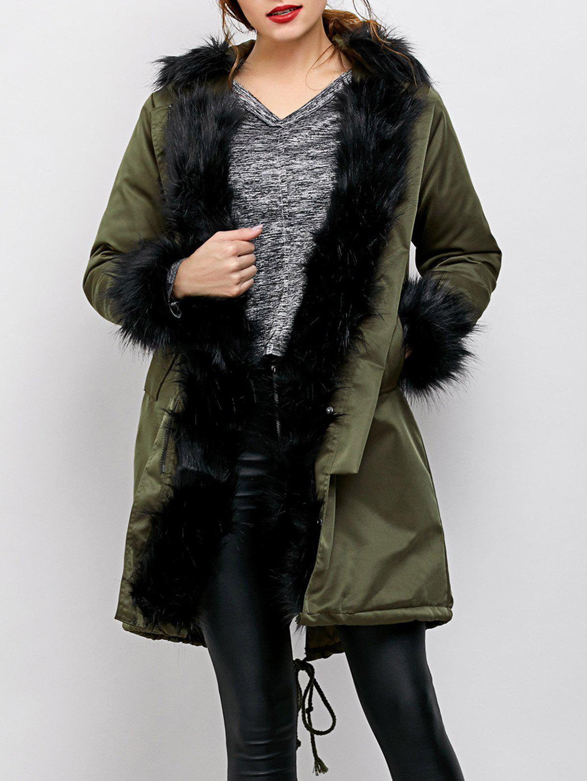 Buy Faux Fur Hooded Anorak Jacket ARMY GREEN