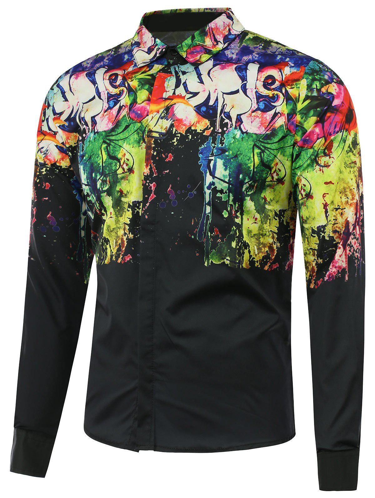 Buy Turn Collar Scrawl Splatter Painted Print Shirt BLACK