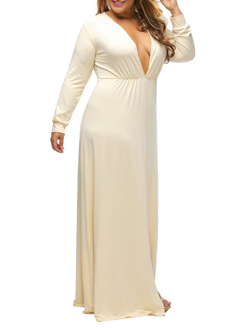 Plunge Plus Size Slit Maxi Dress With Long Sleeves - BEIGE 2XL