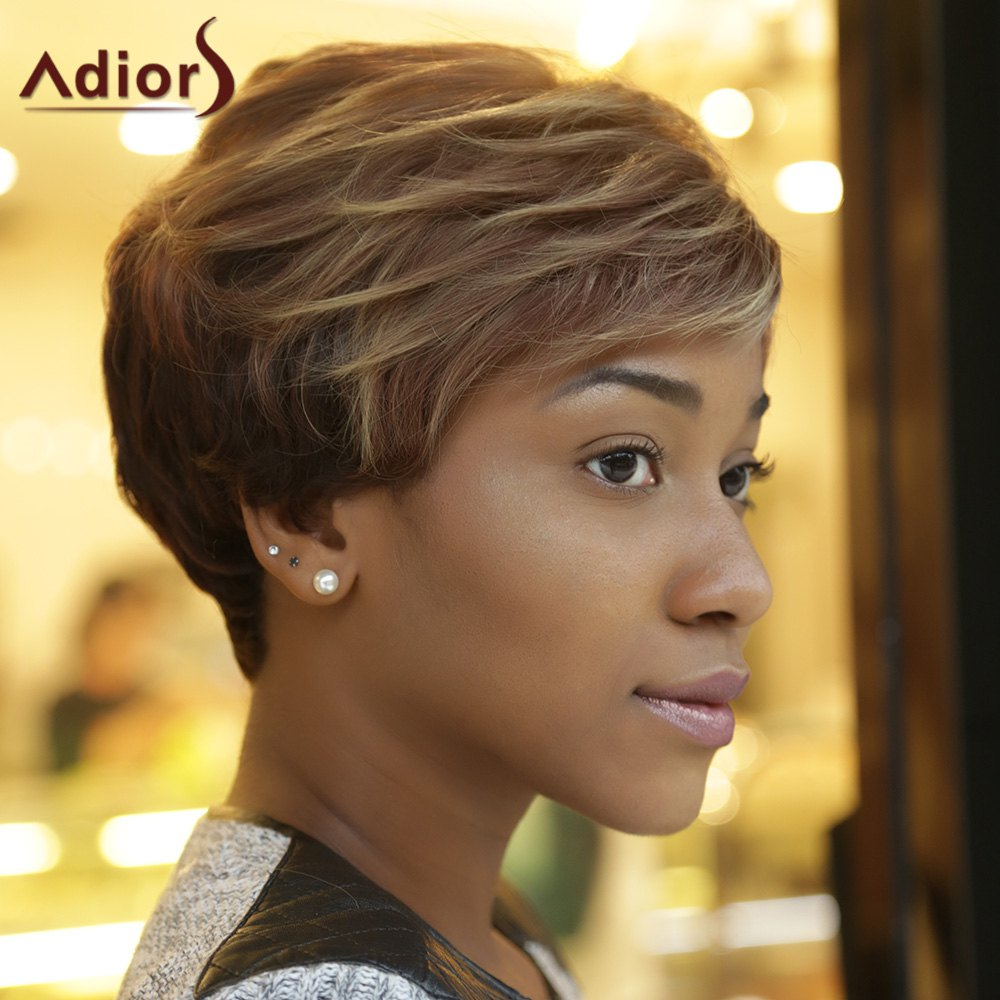 Adiors Short Side Bang Fluffy Curly Highlight Synthetic Wig - COLORMIX