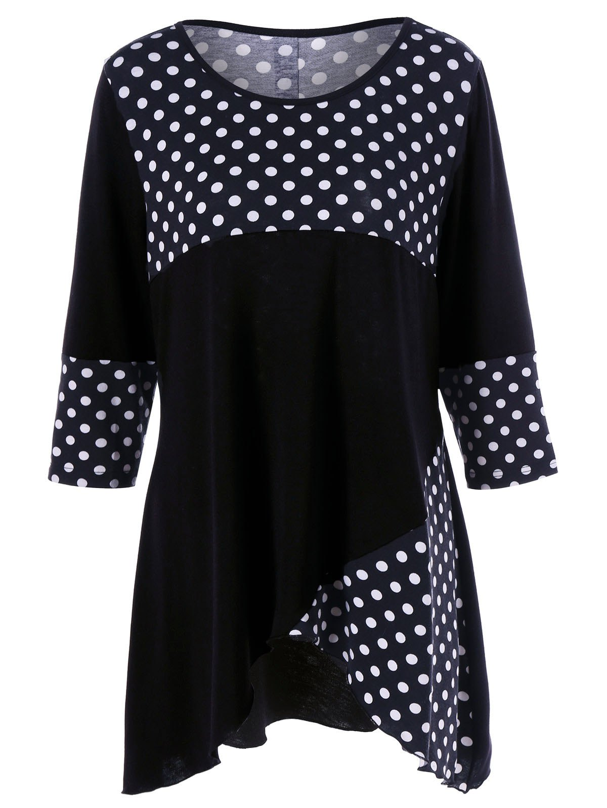 Polka Dot Plus Size Tulip Hem T-Shirt plus size polka dot baggy t shirt