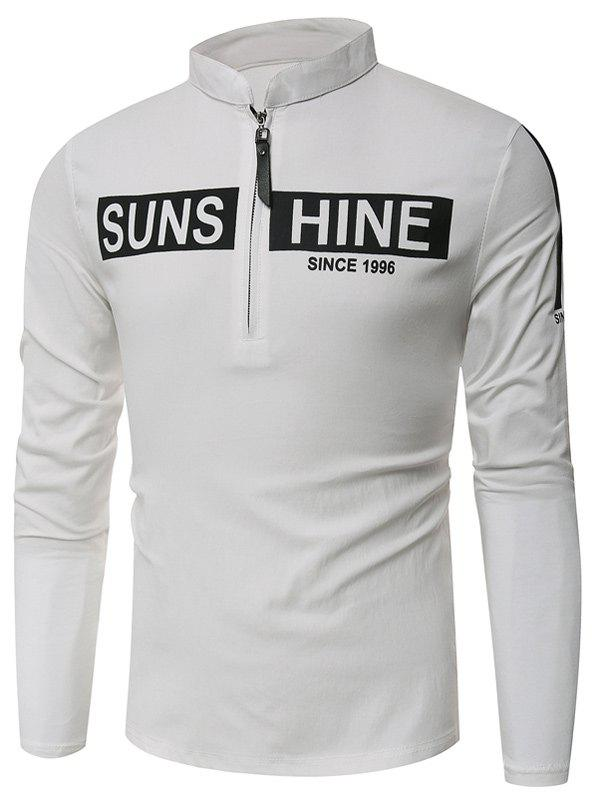 Buy Half Zip Graphic Print Long Sleeve T-Shirt WHITE