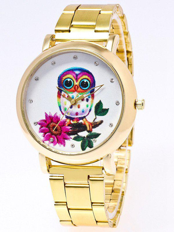 Owl Flower Print Stainless Steel WatchWatches<br><br><br>Color: GOLDEN