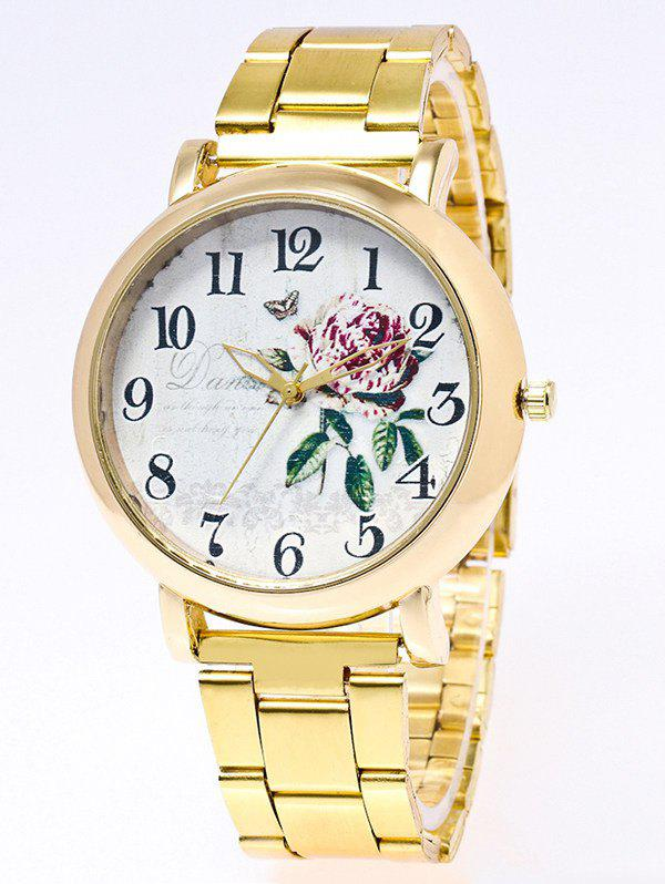 Flower Leaves Print Stainless Steel Watch - GOLDEN