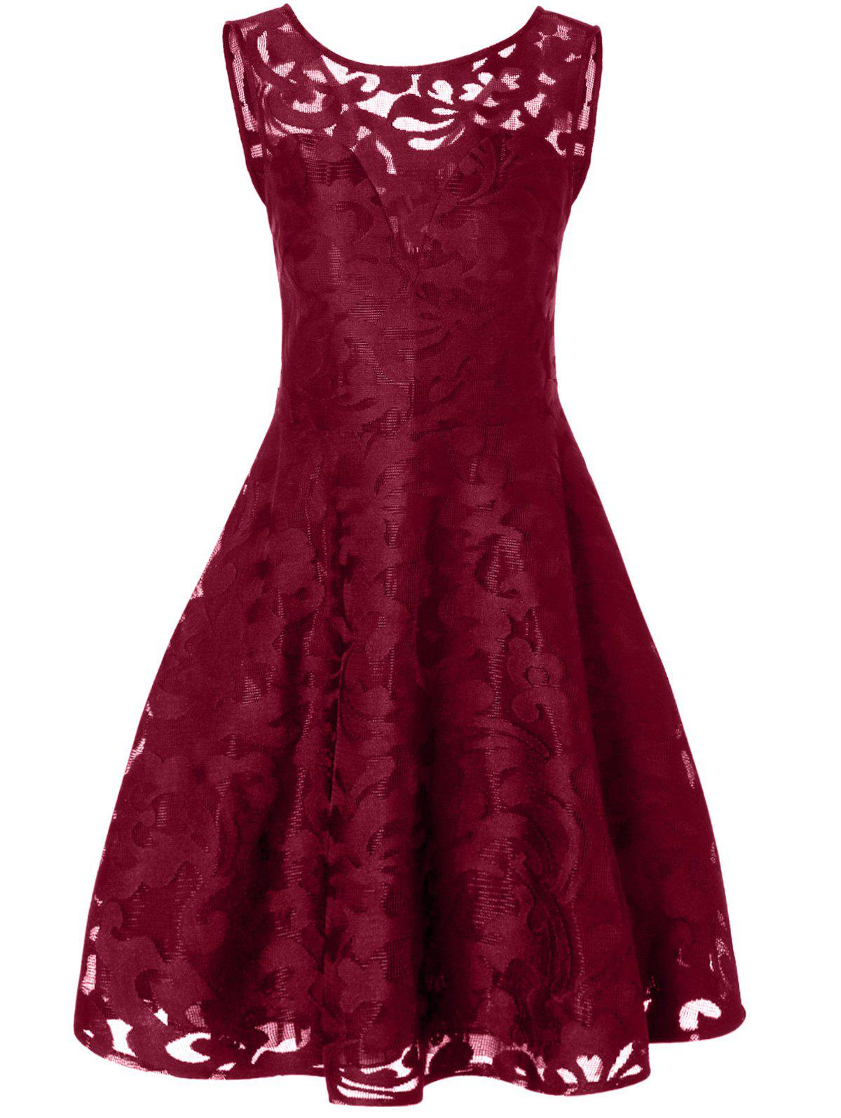 2018 Lace Plus Size Holiday Short Cocktail Dress BURGUNDY XL In ...