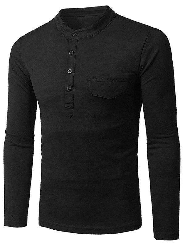 Long Sleeve Grandad Collar Half Button Pocket T-Shirt grandad collar long sleeve half button pocket t shirt