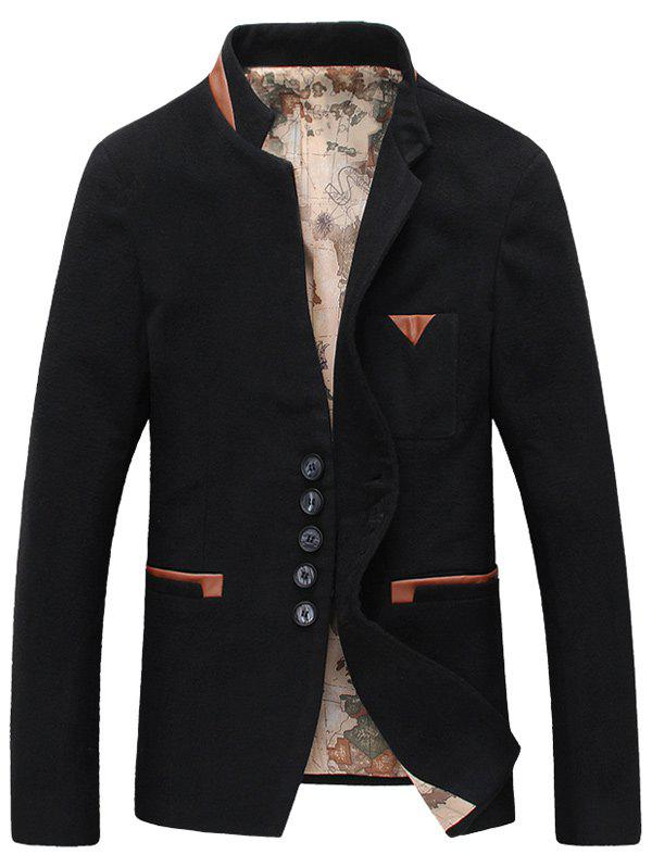 Buy Stand Collar Faux Leather Splicing Woolen Blends Blazer BLACK