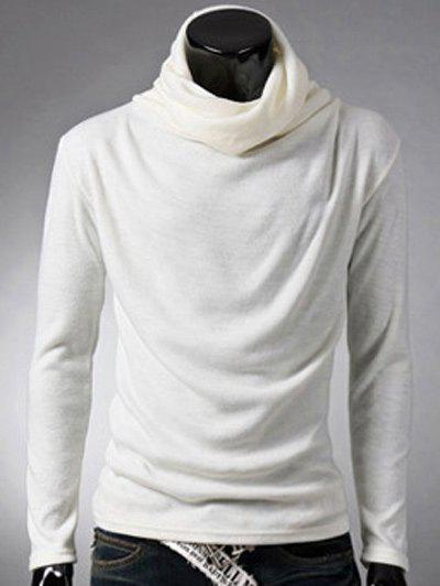 Brief Style Long Sleeve High Neck T-Shirt - WHITE L