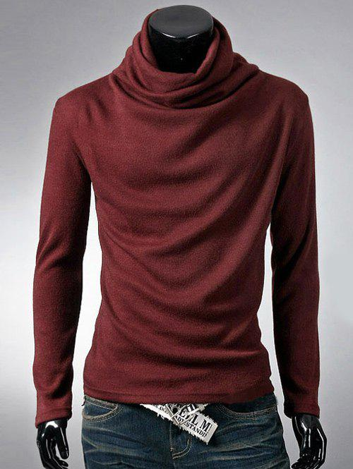 Brief Style Long Sleeve High Neck T-Shirt - WINE RED L