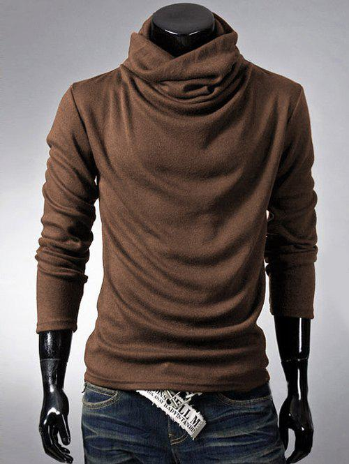 Brief Style Long Sleeve High Neck T-Shirt - COFFEE M