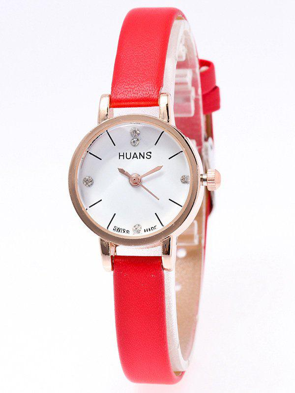 Artificial Leather Rhinestone Watch - RED