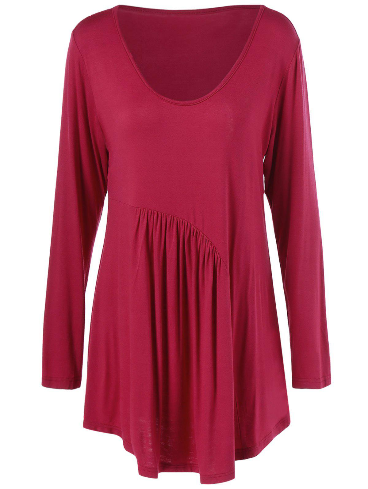 Pleated Plus Size Tunic T-ShirtWomen<br><br><br>Size: 5XL<br>Color: RED