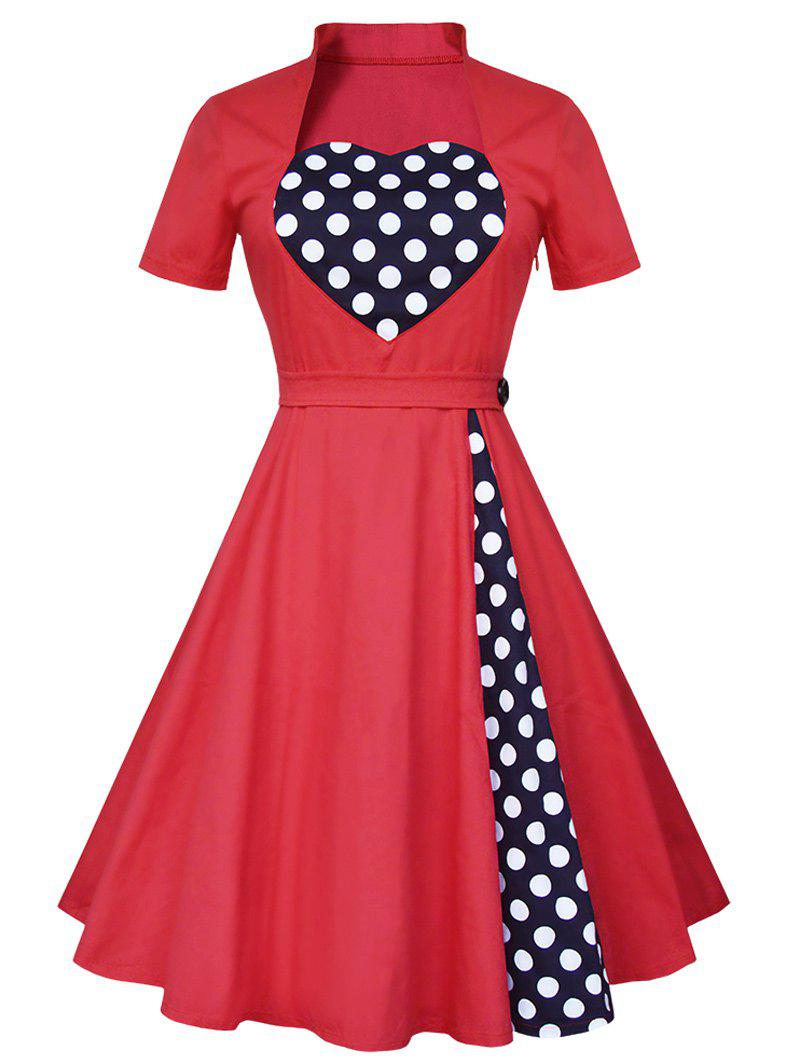 Vintage Polka Dot Panel High Waist Dress - RED XL