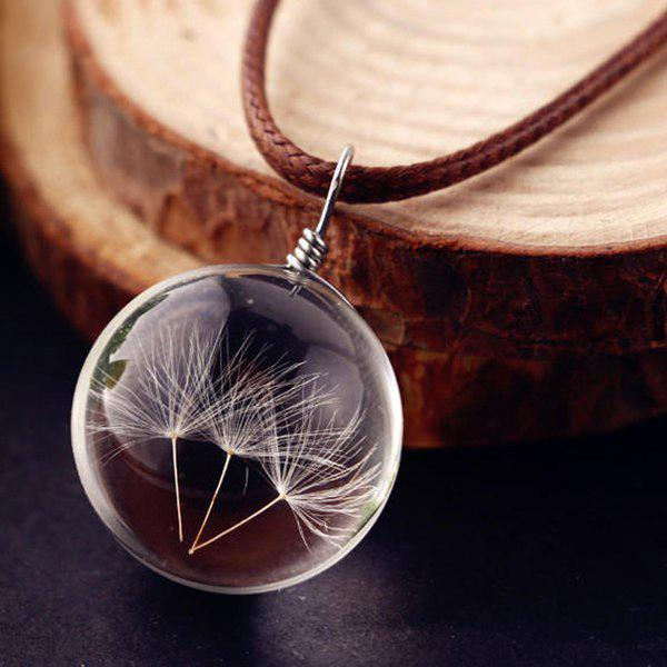 Dandelions Glass Ball Pendant Necklace - TRANSPARENT