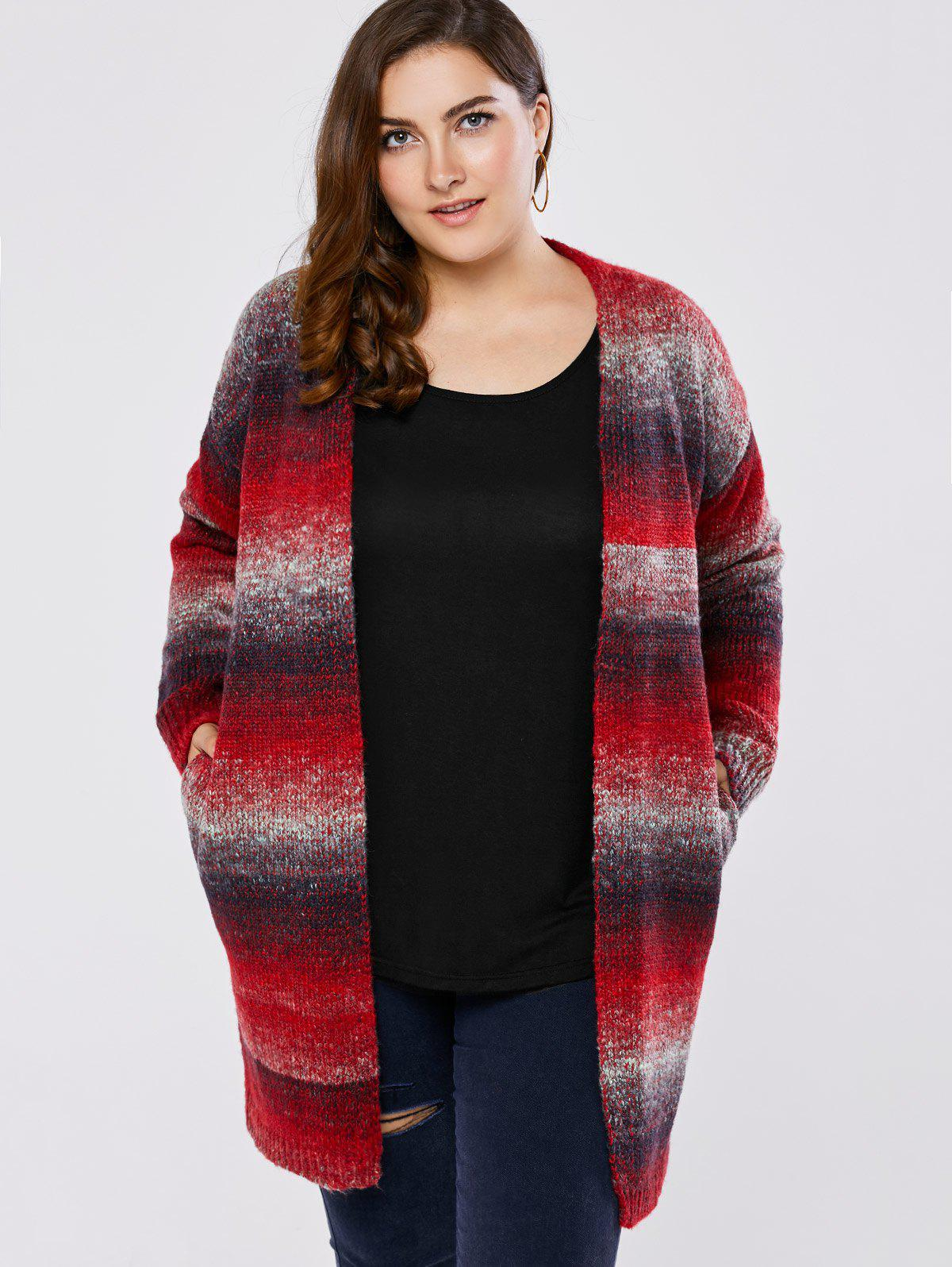 Plus Size Knitted Cardigan - RED 5XL