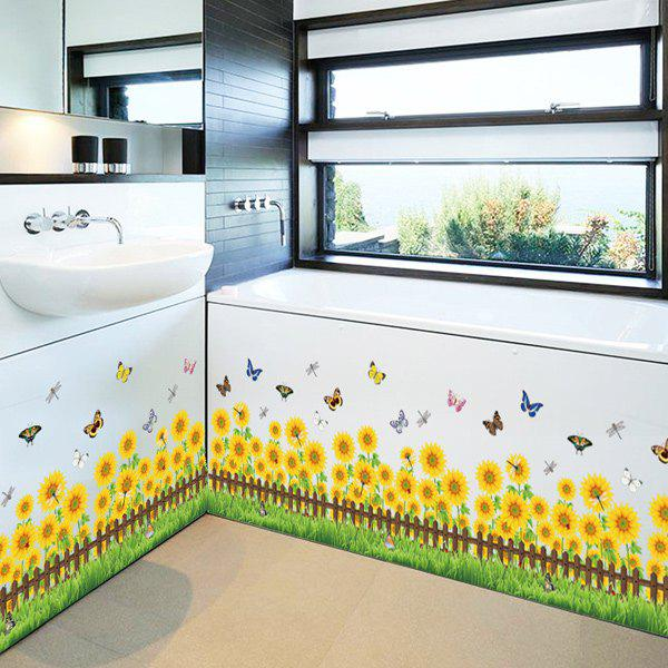 Sunflower Living Room Skirting Line Wall Stickers
