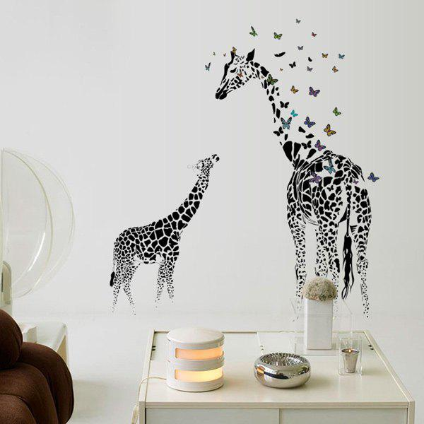 2018 Giraffe Animal Kids Room Cartoon Wall Stickers Black
