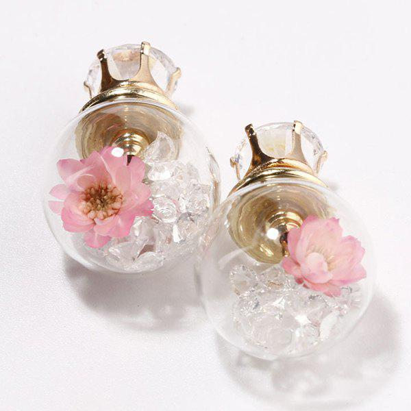 Double End Flower Glass Ball Earrings pair of enamel flower glass ball double end earrings