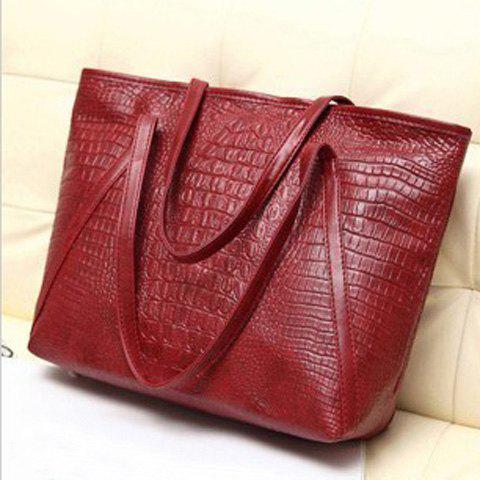 Crocodile Embossed Faux Leather Shoulder Bag - RED
