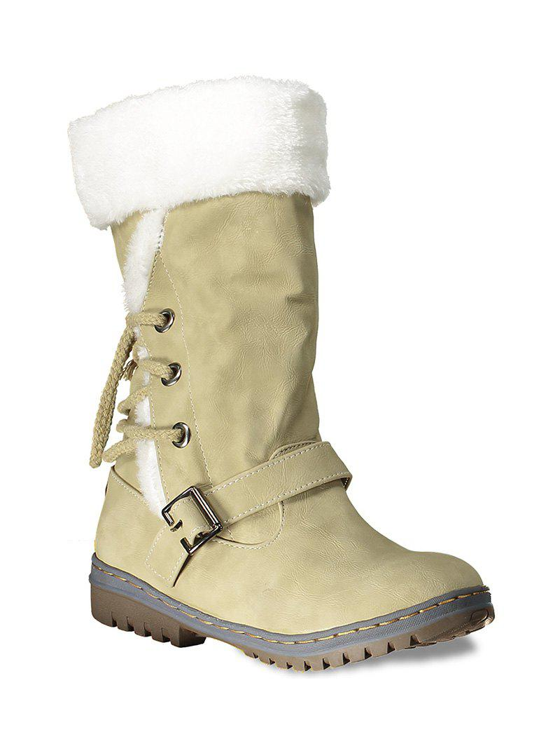 Lace Up Mid Calf Boots - YELLOW 38