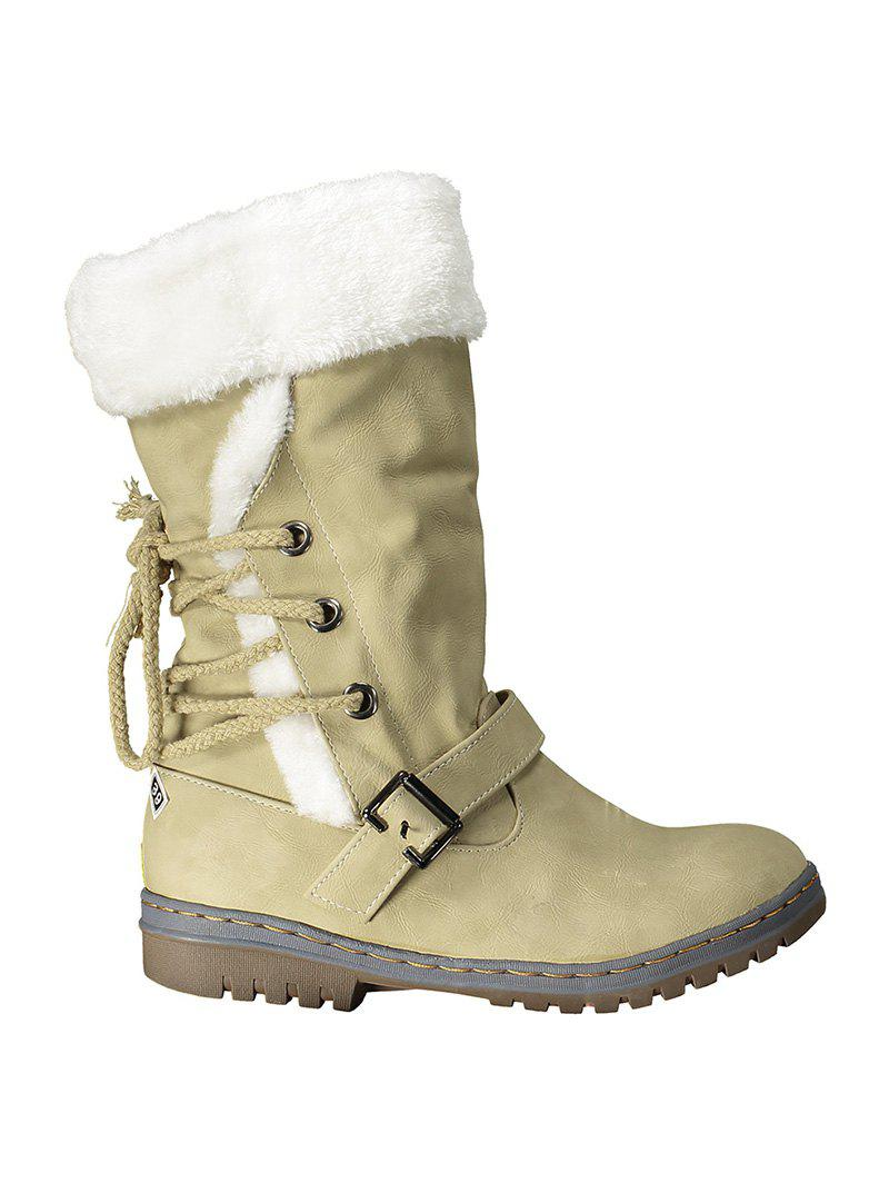 Lace Up Mid Calf Boots - YELLOW 37