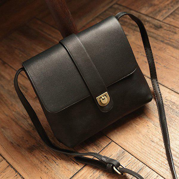 Falpped PU Leather Crossbody Bag - BLACK